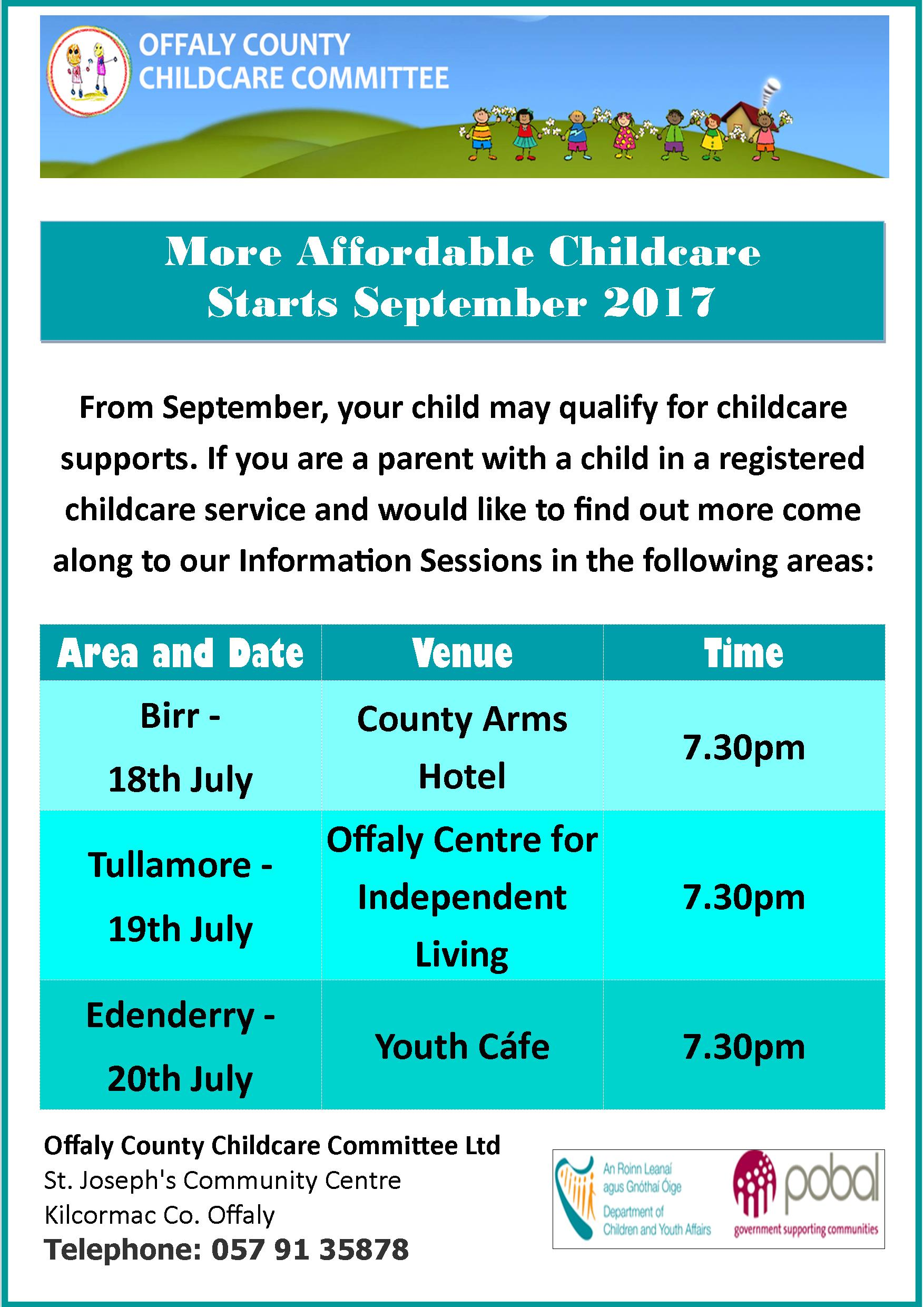 More Affordable Childcare inforamtion sessions 2017